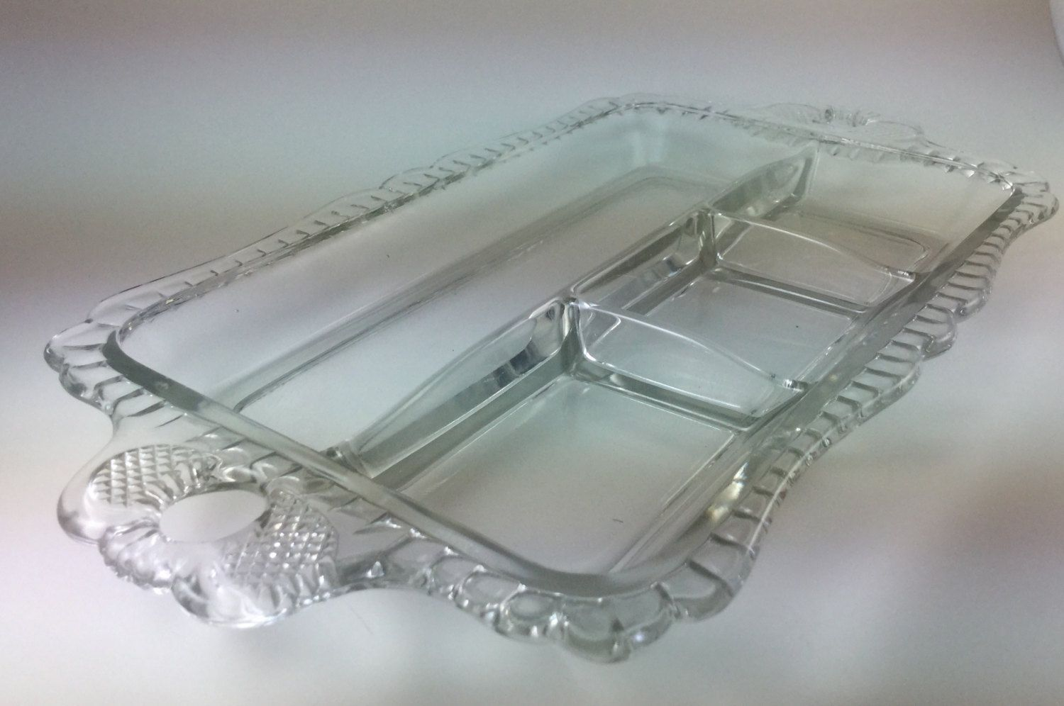 Glass Serving Divided Tray with 4 sections Ornate Handles Scalloped Edges by WildGooseChase on Etsy