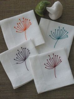 Cocktail Napkins, Linen Napkins, Cloth Napkins, Off White Linen Fabric with Queen Ann Pattern Set of 8, Embroidered, Wedding Party Napkins