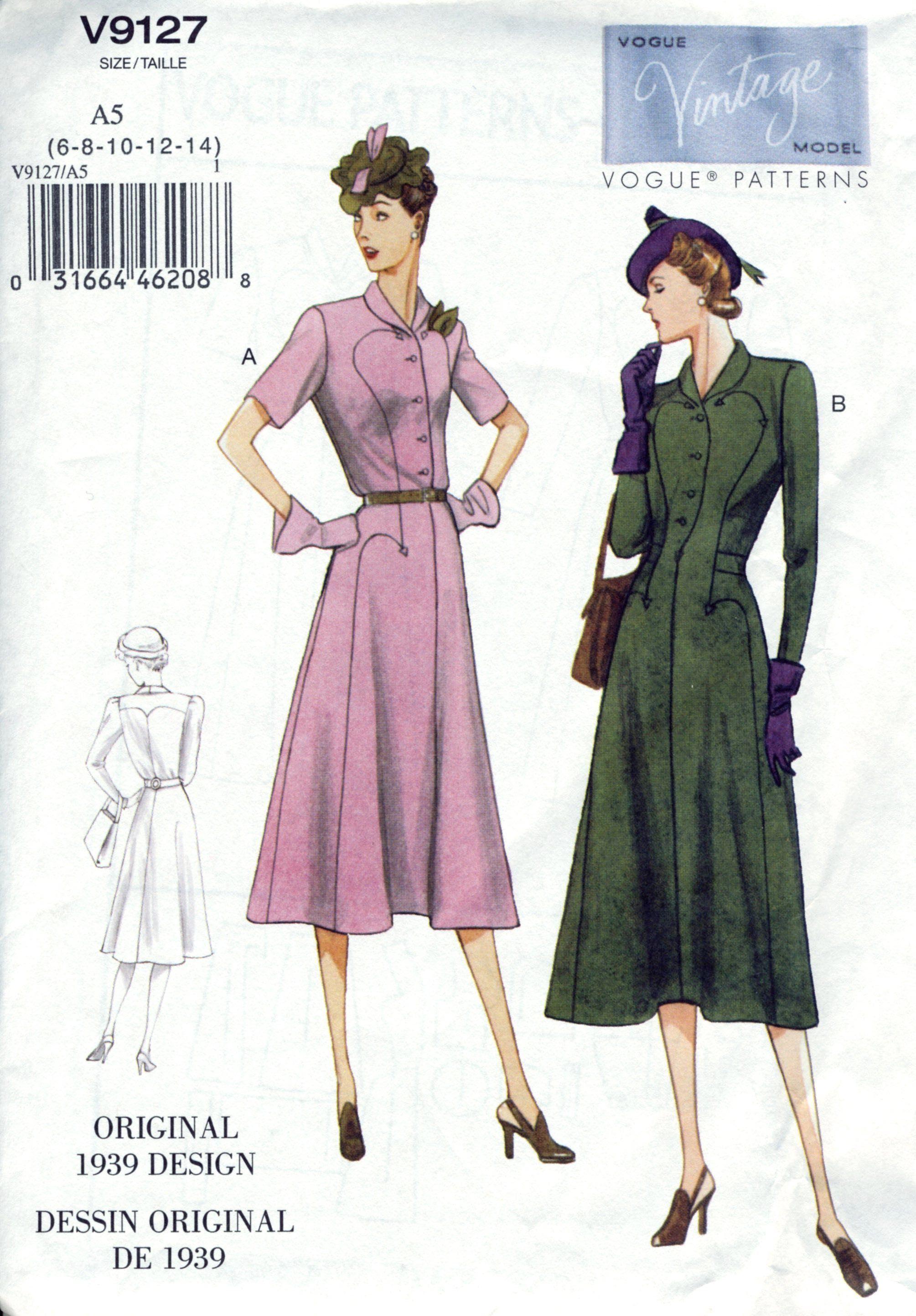 Vogue V9127 Repro 1930 S Dress Pattern Reissue Vogue Vogue Patterns Vintage Vogue Sewing Patterns Pattern Fashion