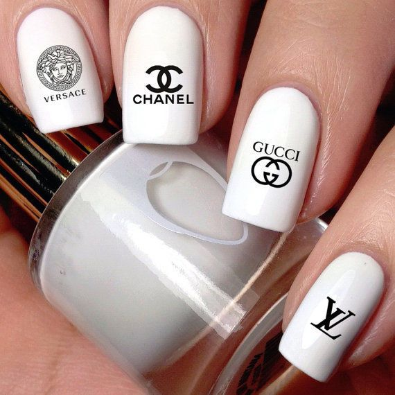 Hot trendy chic cc lv c logo nail art self adhesive 3d stickers slide decals diy unbranded