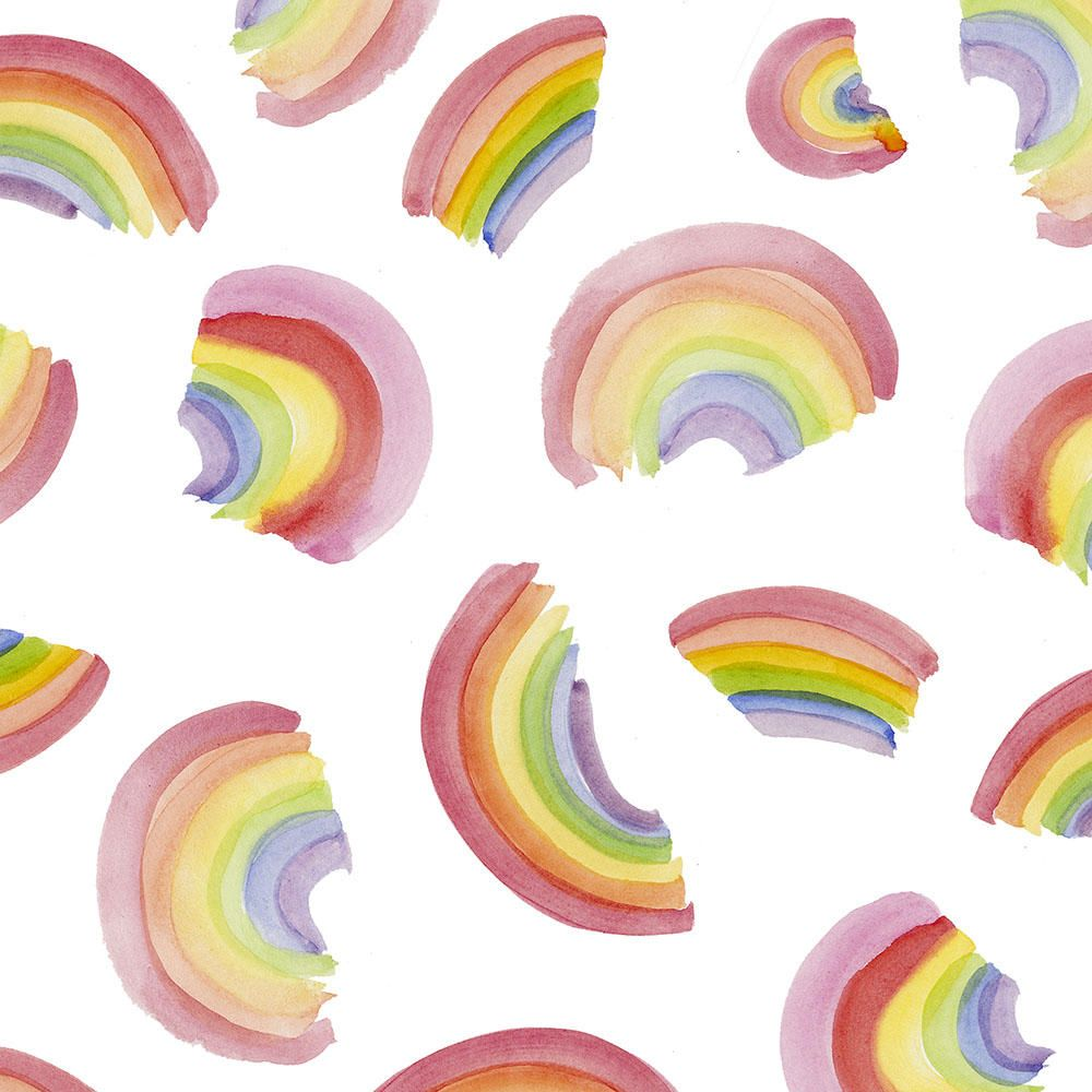 Watercolor Rainbows Fabric By The Yard Watercolor Fabric