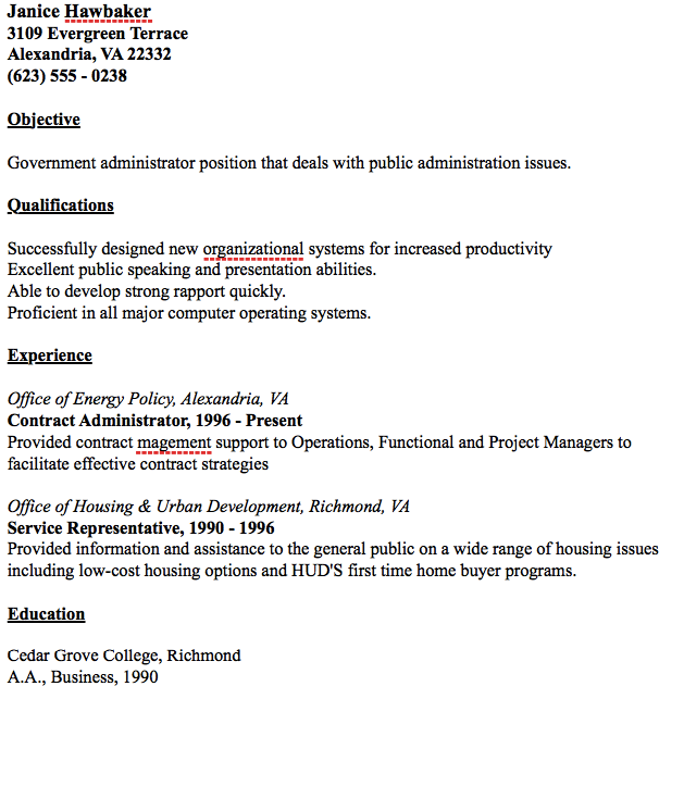 Example Of Public Administrator Resume