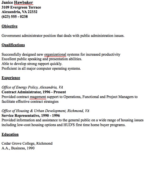 Public Administration Resume - Resume Sample