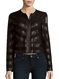 Bagatelle - Striped Long Sleeve Moto Jacket