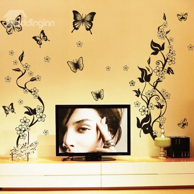 Beautiful Black Flowers and Butterflies Pattern Wall Stickers ...