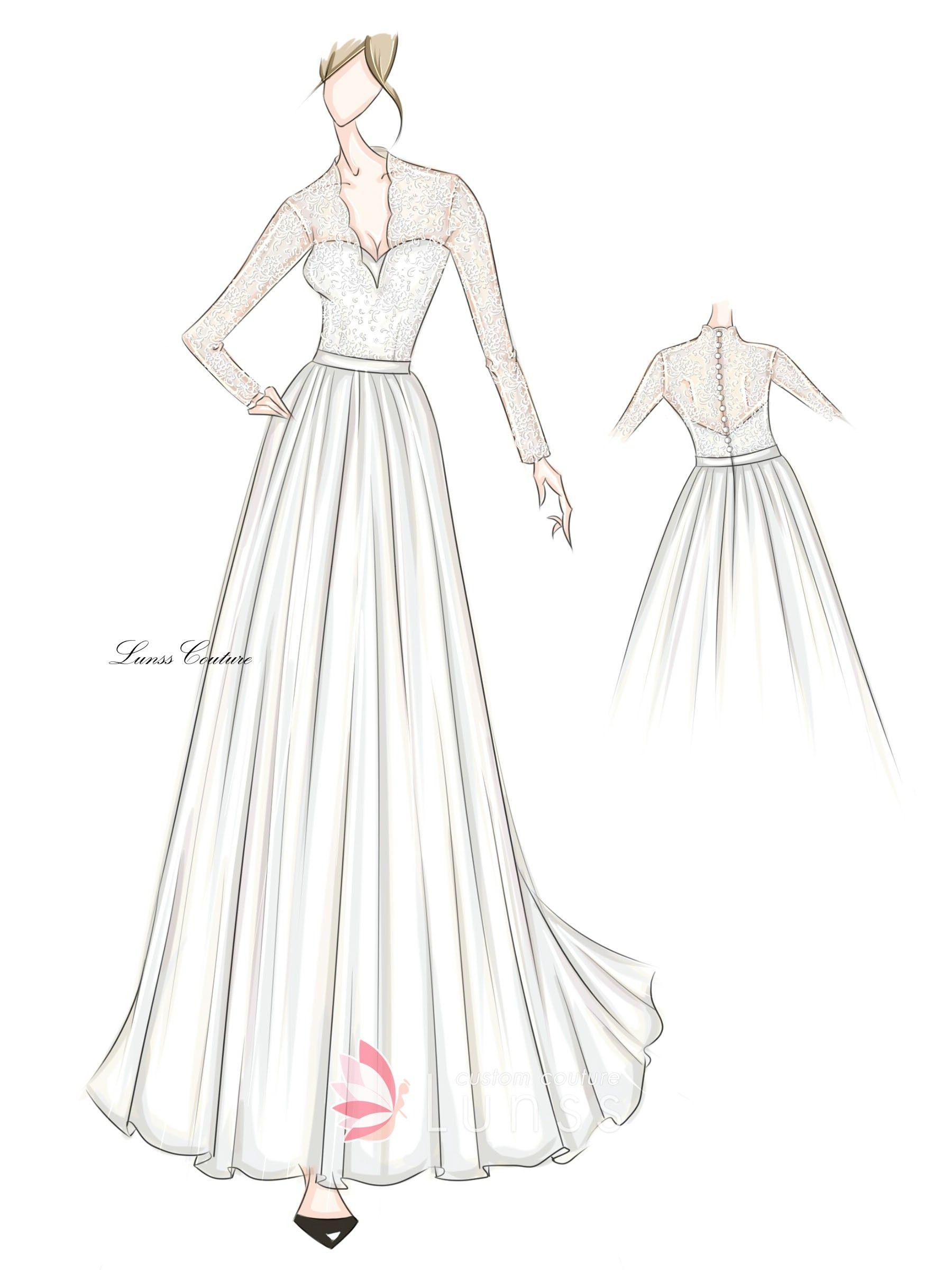 Long Sleeved Floor Length A Line Dress Sketch Dress Sketches Dress Drawing Dresses