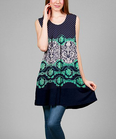 Loving this Navy & Green Polka Dot Sleeveless Tunic - Plus on #zulily! #zulilyfinds