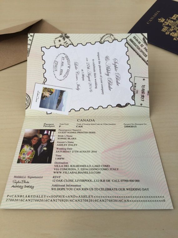 Personalised Passport Wedding Invitations Canadian Canada