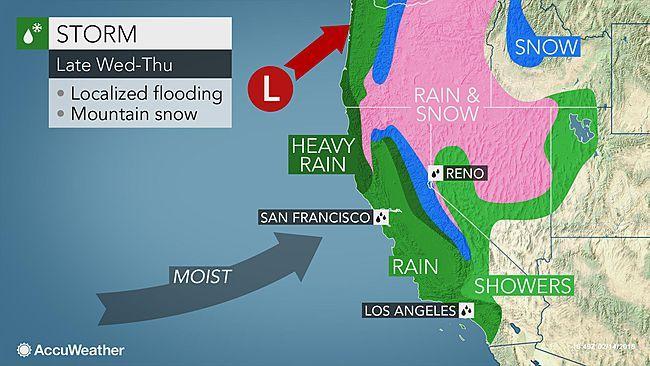 California Storm To Unleash Rain Mountain Snow And Cooler Air At Midweek Snow Mountain Storm Rain