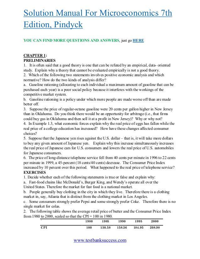 www testbanksuccess com solution manual for microeconomics 7th rh pinterest com Microeconomics 6th Edition Microeconomics 2nd Edition
