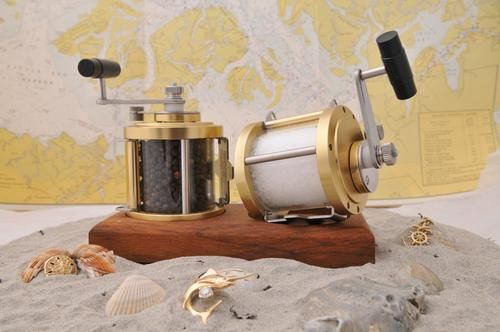 These Distinctive Salt Pepper Grinders Built From Marine Grade Materials They Re Modeled After The Famous Penn International Offs Fishing Reels