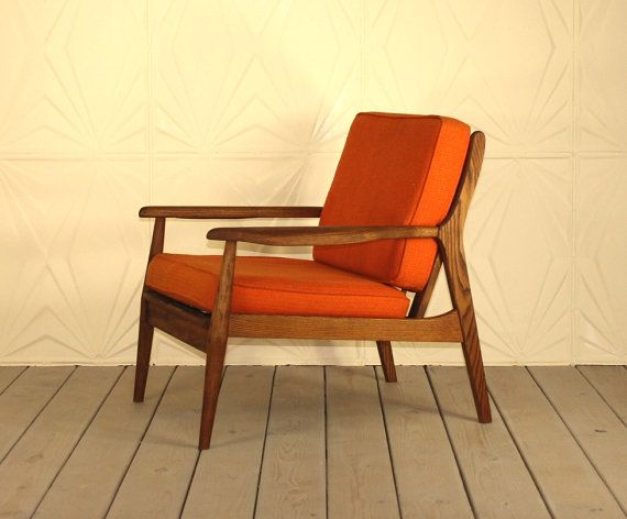 60s Style Furniture danish style walnut wood lounge chair newly refinished with new