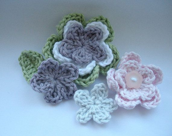 Crochet Pattern Flower Applique Patterns Are 3 Layer 2 Layer Small