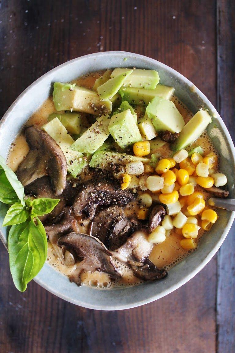 tomato avocado mushroom corn soup  raw food diet raw
