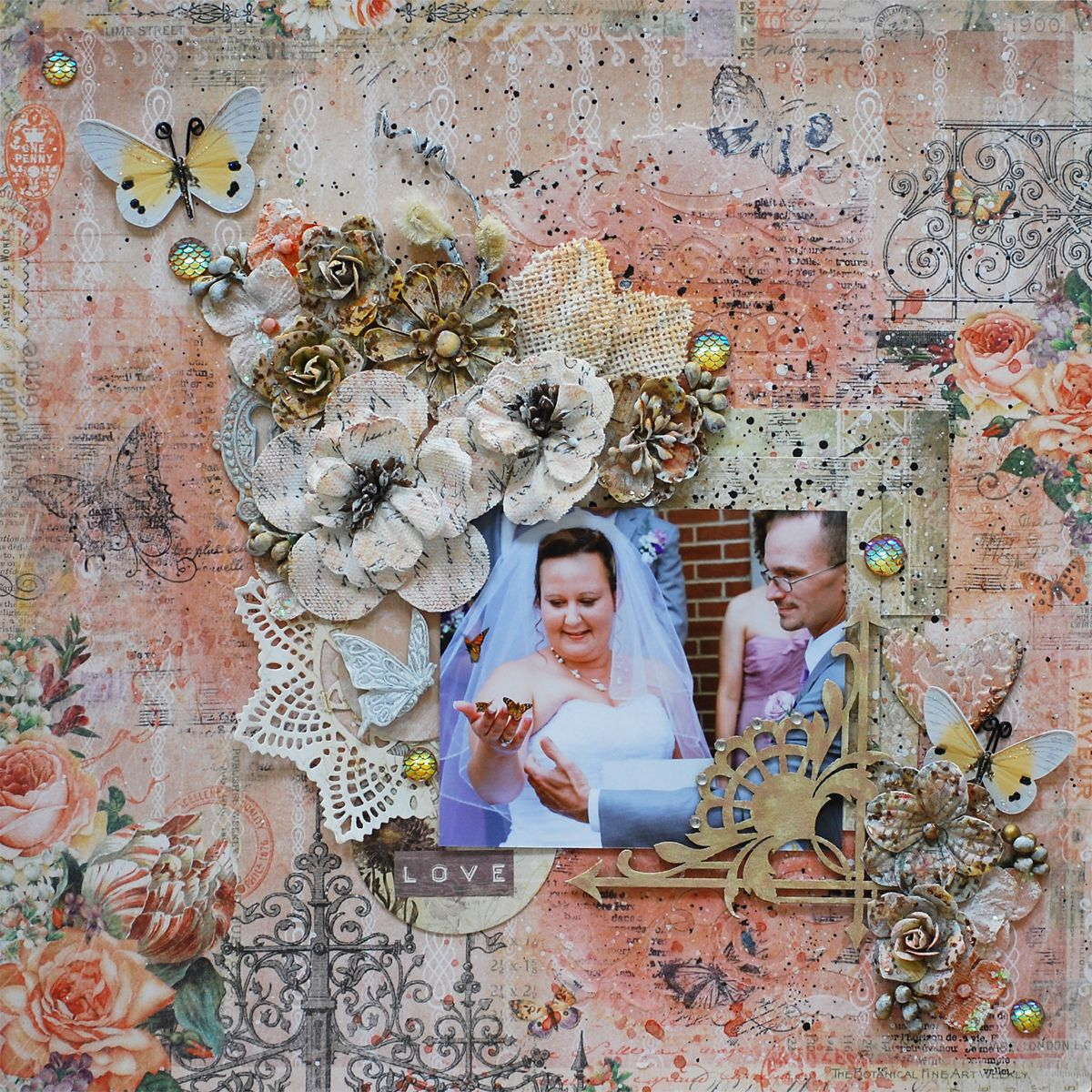 Scraps of Elegance scrapbook kits: DIY Mixed media wedding layout video tuturial, featuring Blue Ferns Studio Autumn Anthology. Tracey Sabella created this beautiful layout with our Lisa's Sweet September Kit, and did a Youtube tutorial to go along with it. Find our kits here.