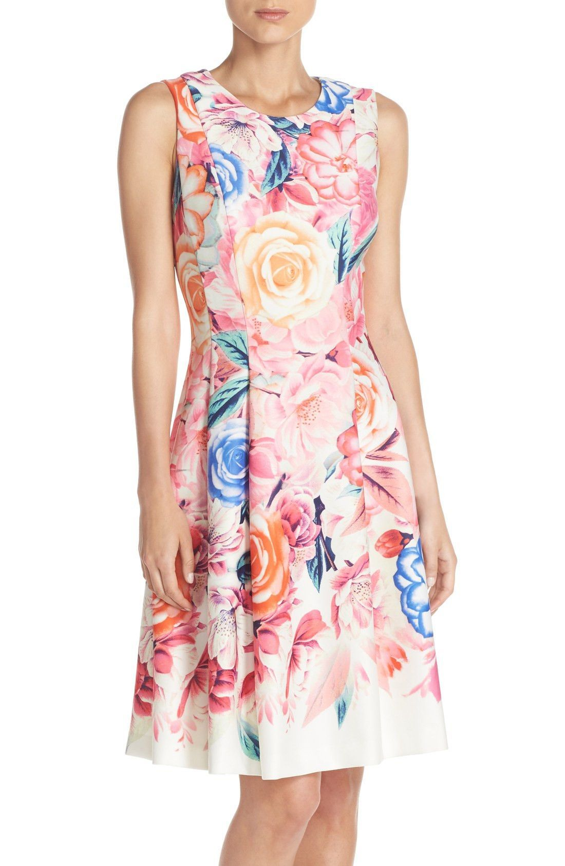 Floral print scuba fit u flare dress regular u petite products