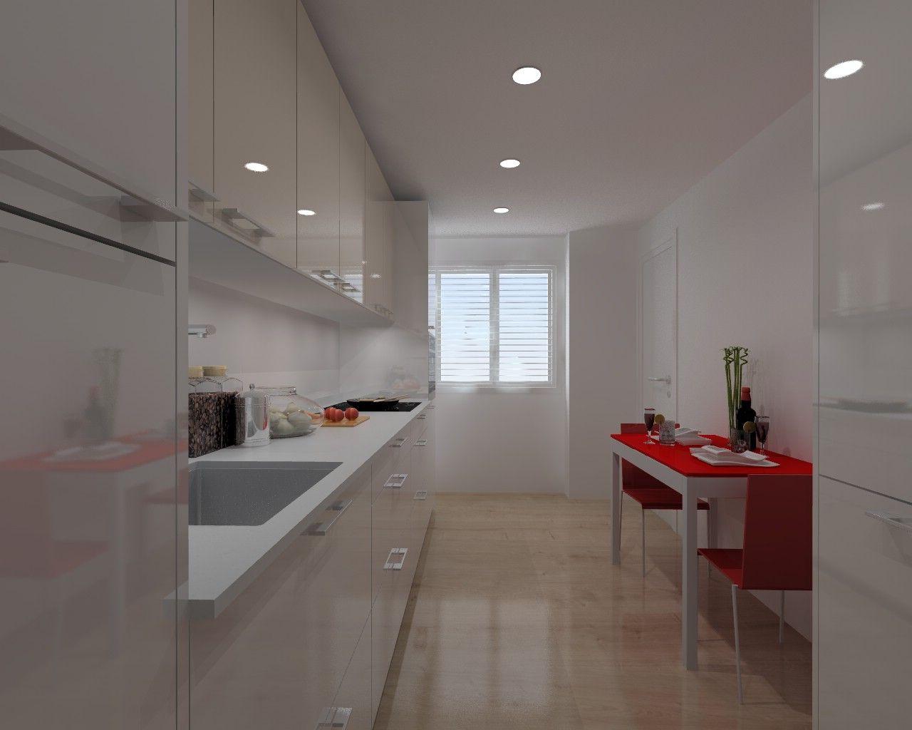 Diseño de Cocina Santos en Madrid, Modelo Plano con una encimera ...