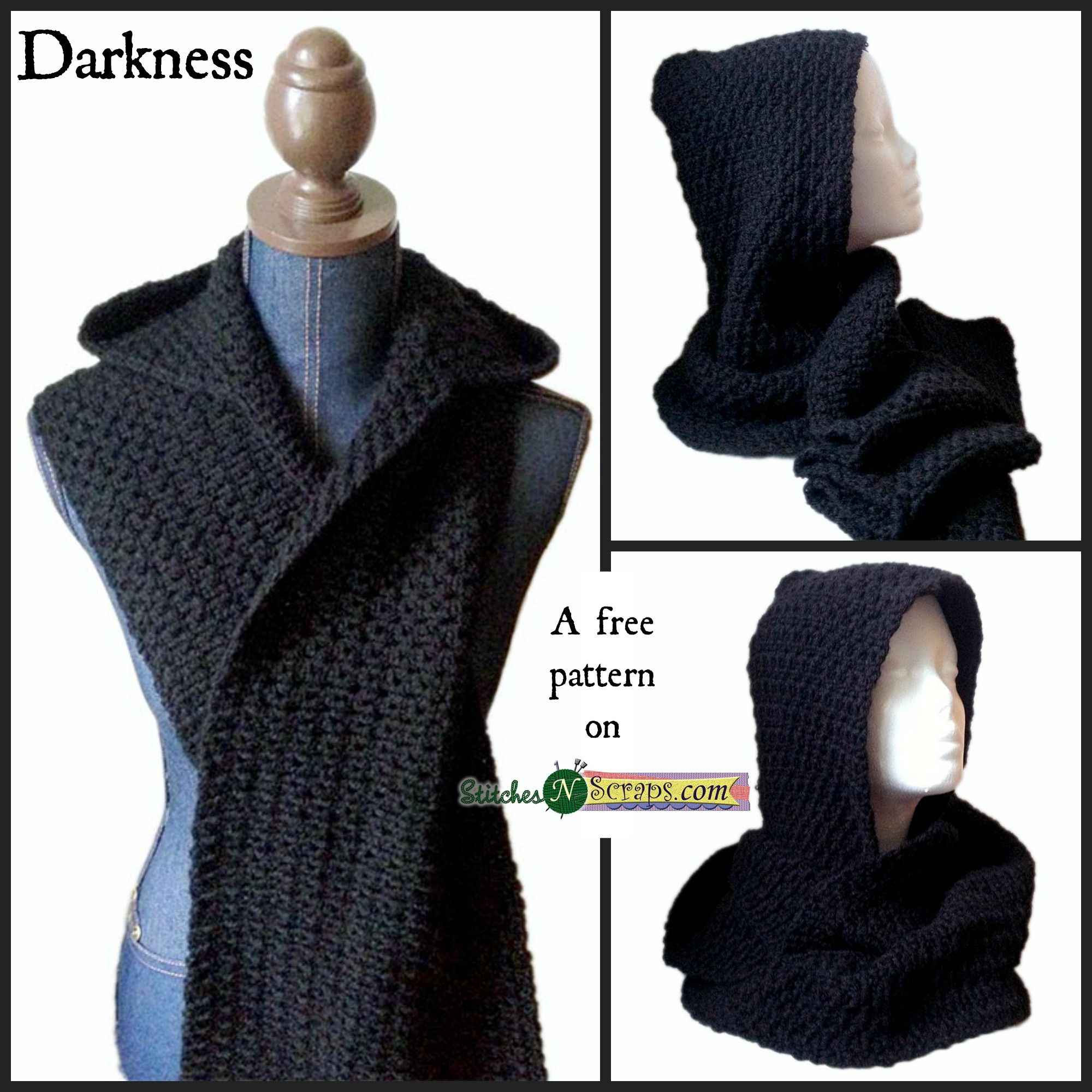 Free Pattern - Darkness | Pinterest | Hooded scarf pattern, Crochet ...