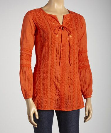 Look what I found on #zulily! Orange Sheer Tie Front Top #zulilyfinds