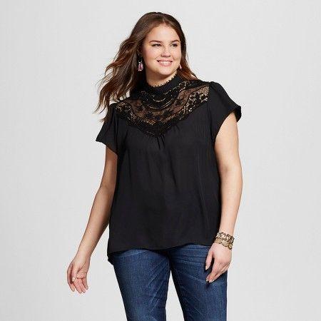 75c9b1dfffb8c1 Women's Plus Size Lace Mock-Neck Blouse Black - 3Hearts : Target ...