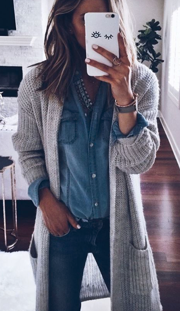 Classic chambray & duster cardigan
