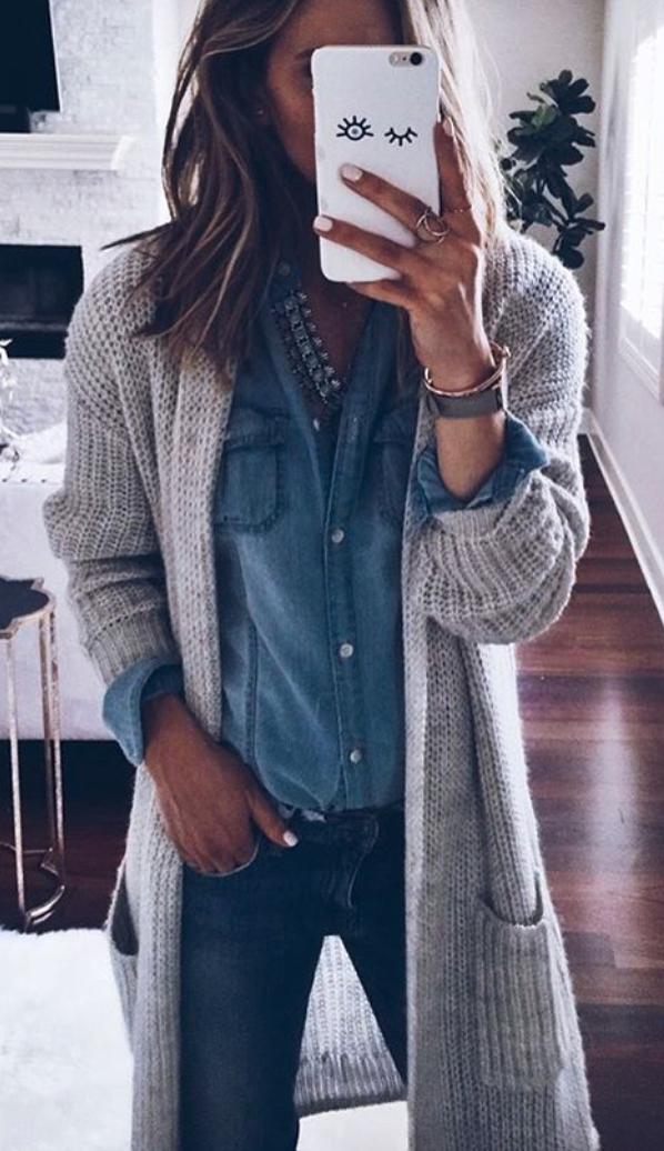 Classic chambray & duster cardigan | Fashion, Fashion