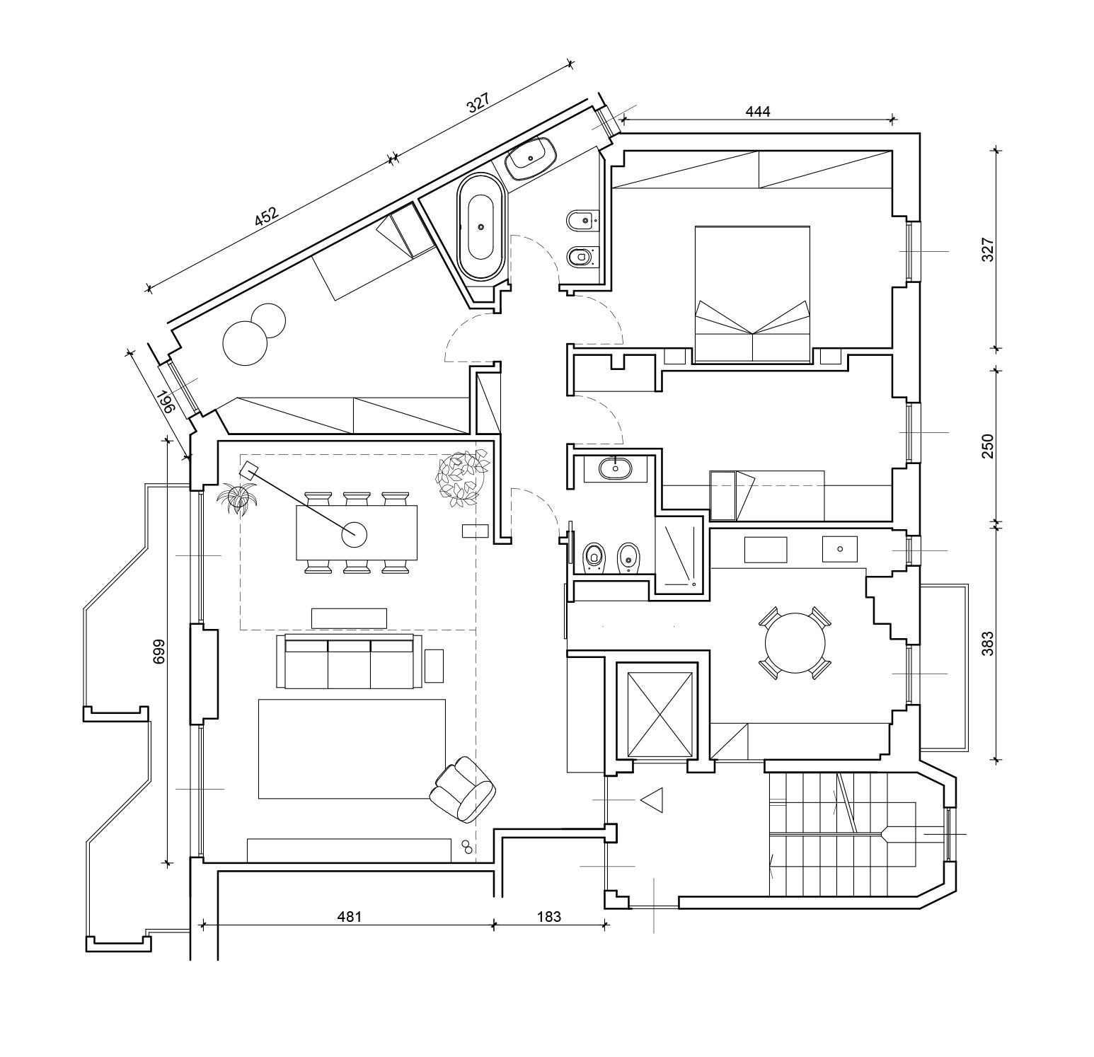 130 Mq Soggiorno Doppio E Cucina Separata Per La Casa Con Bagno E Cameretta A Pianta Irregolari Cose Di Casa Progetto Di Appartamento Planimetrie Di Case Piantine Di Case