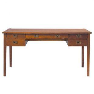 Campaign Desk Houten Bureau Vintage Industrieel Meubilair