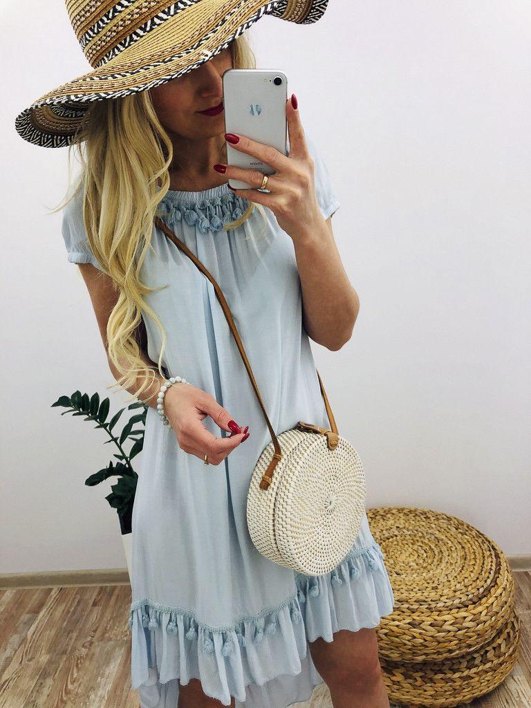 Sukienka Boho Baby Blue Fashion Straw Bag Bags