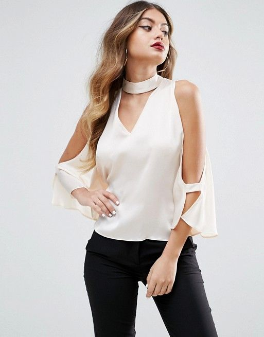 Cold Shoulder Satin Swing Top with Deep Plunge and Choker Detail - Black Asos Petite Online Shopping Outlet Where Can You Find Outlet Lowest Price Fast Delivery zNSeGV