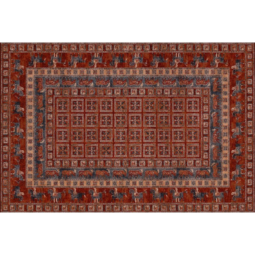 Couristan Old World Classics Pazyrk Framed Floral Wool Rug Antique Red 4 5x6 5 Ft Old World Wool Rug Rugs
