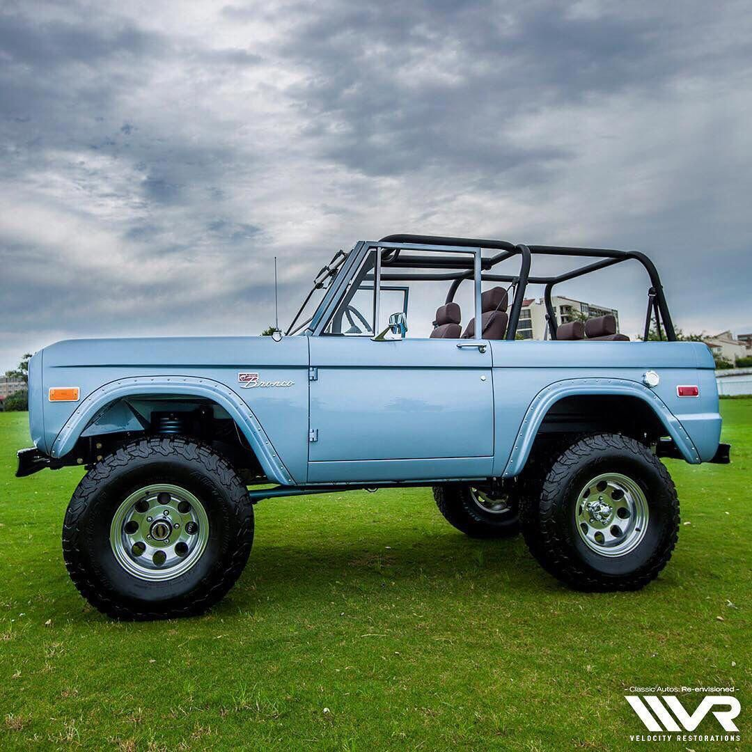 I Chose This Picture Because It Reminded Me Of The Blue Car That Speeds Down The Road In The First Poem He Wrote Fordclassicca Ford Bronco Classic Ford Broncos Classic Trucks