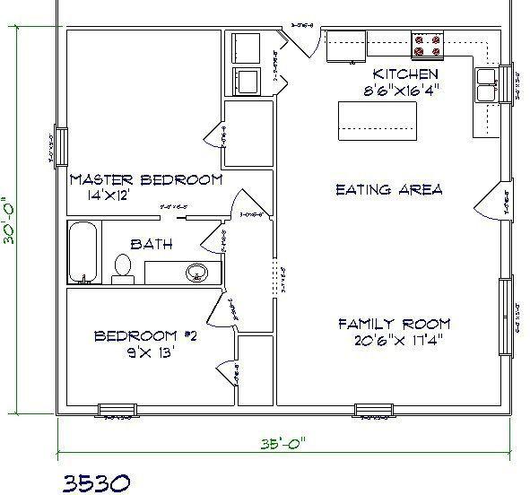 barndominium floor plan 2 bedroom 1 bathroom 35x30 | pole barn