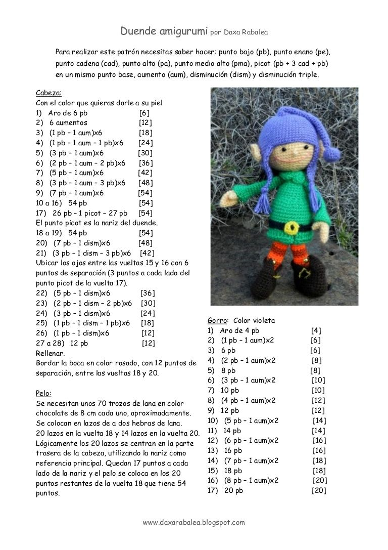 Patrón para tejer un duende a rochet | muñecos crochet | Pinterest ...