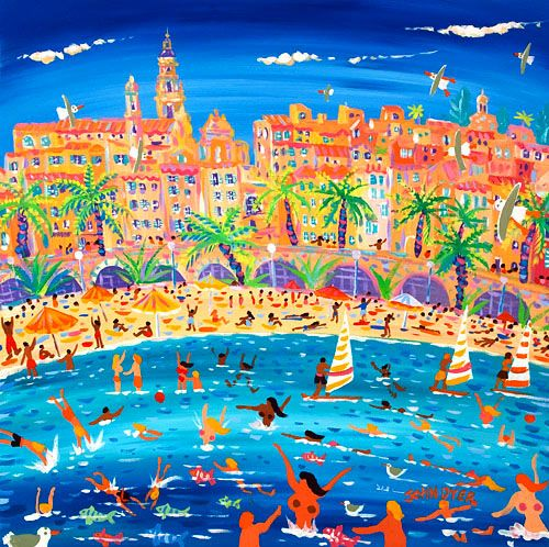 John Dyer - Swimming, Sailing and Snorkeling, Menton 24 x 24 inches, acrylic on canvas
