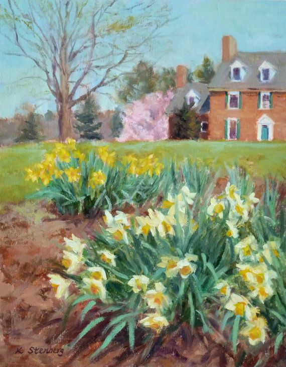 "Spring Landscape Daffodil Painting ""Springtime at Manor House"" Original Oil Painting by KimStenbergFineArt, $250.00"
