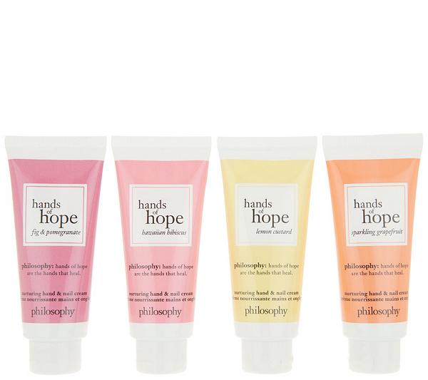 Philosophy Hands Of Hope Nurturing Hand Nail Cream 4 Piece Kit Qvc Com Cream Nails Skin Moisturizer Philosophy