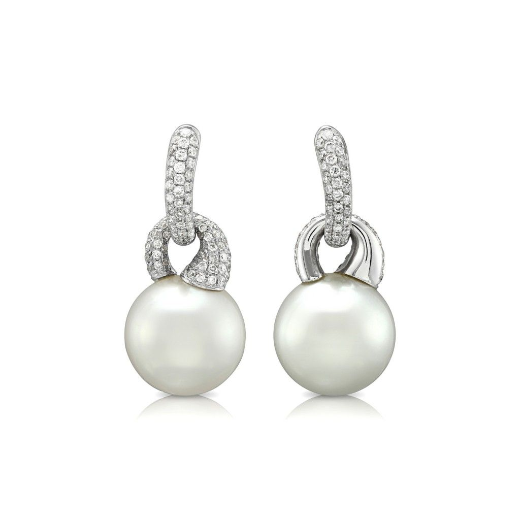 a0596eb9e 18ct white gold southsea pearl diamond drop earrings | Jewelry ...