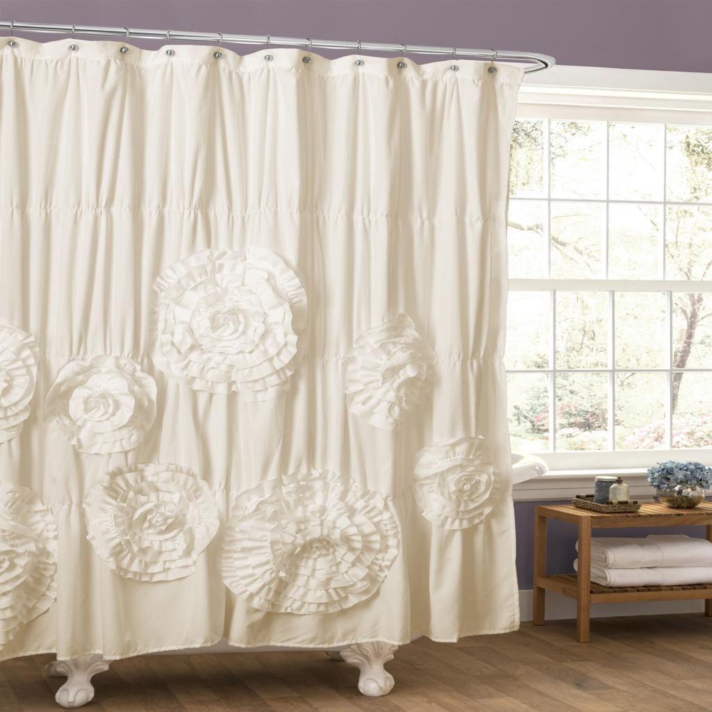 Lush Decor Serena Ruffle Trim Shower Curtain Ivory Beige Off