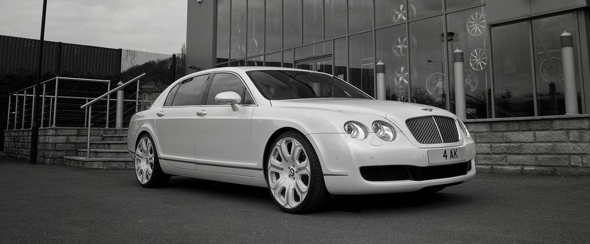 Project Kahn Bentley Flying Spur Pearl White Bentley Flying Spur Luxury Car Hire Bentley
