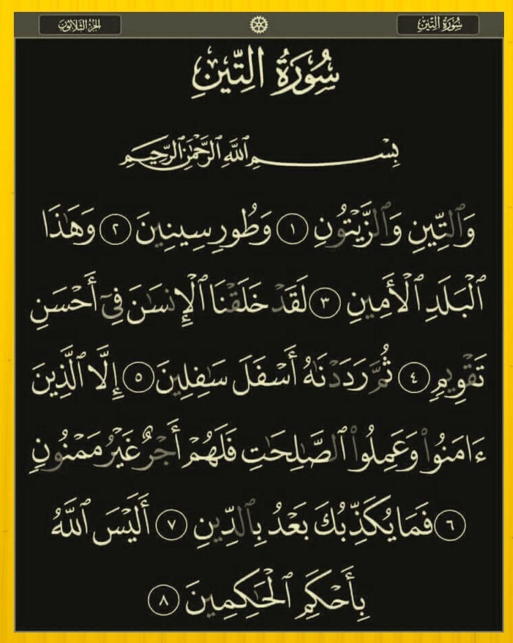 سورة التين Arabic Calligraphy Oia Calligraphy