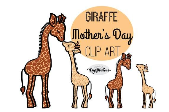 Mothers Day Clipart, Giraffe Clip Art, Mother abd Baby clipart, jungle animals clip art #clipartfreebies