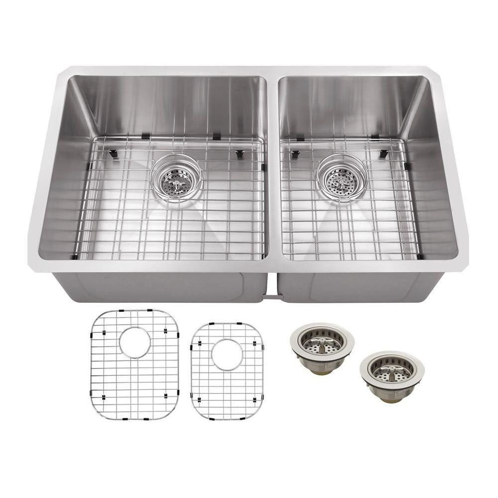 Undermount Stainless Steel 32 In. Double Bowl Kitchen Sink, Brushed Satin