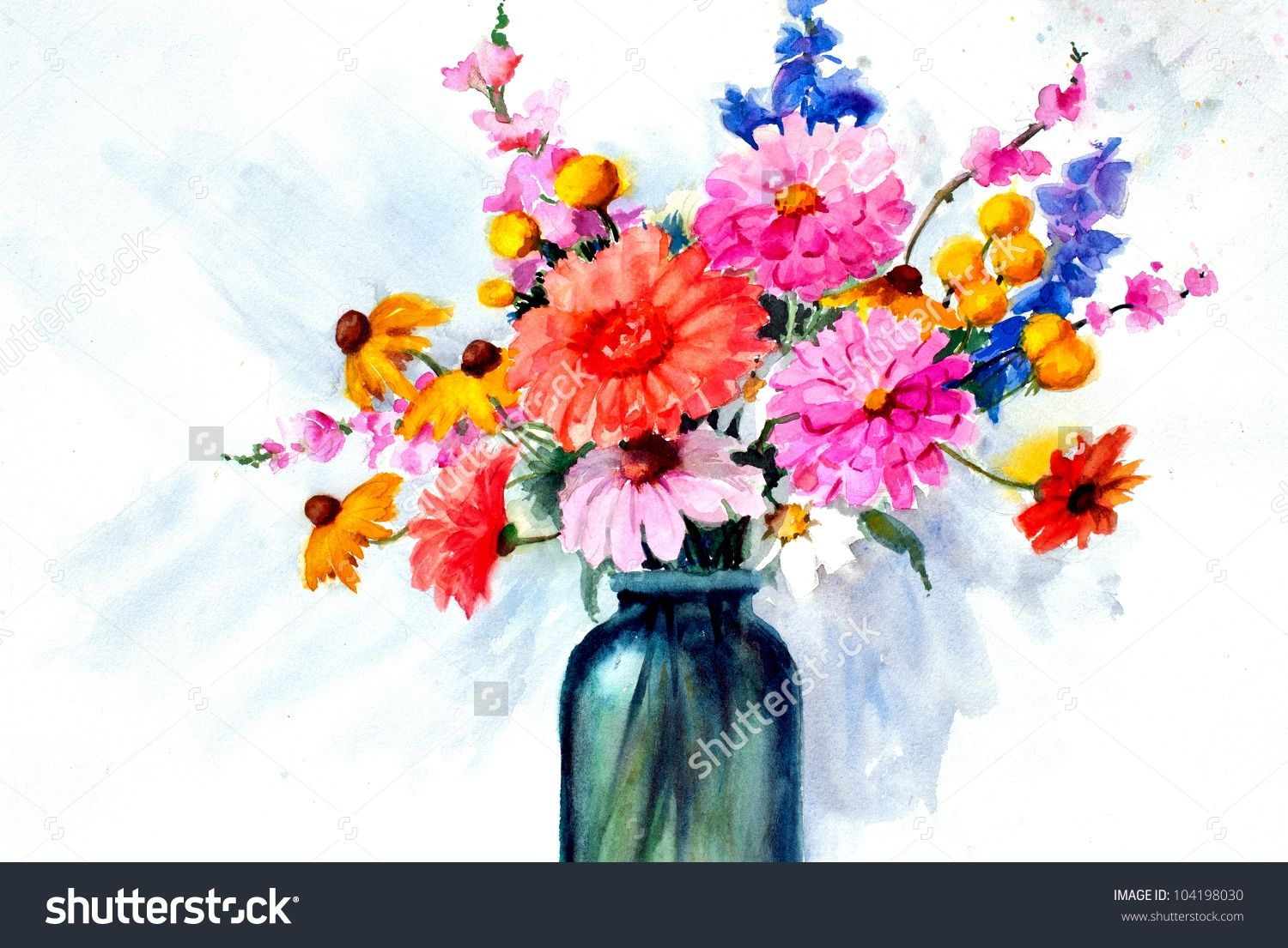 Beautiful Flower Vase Paintings Watercolor Art Diy Painting