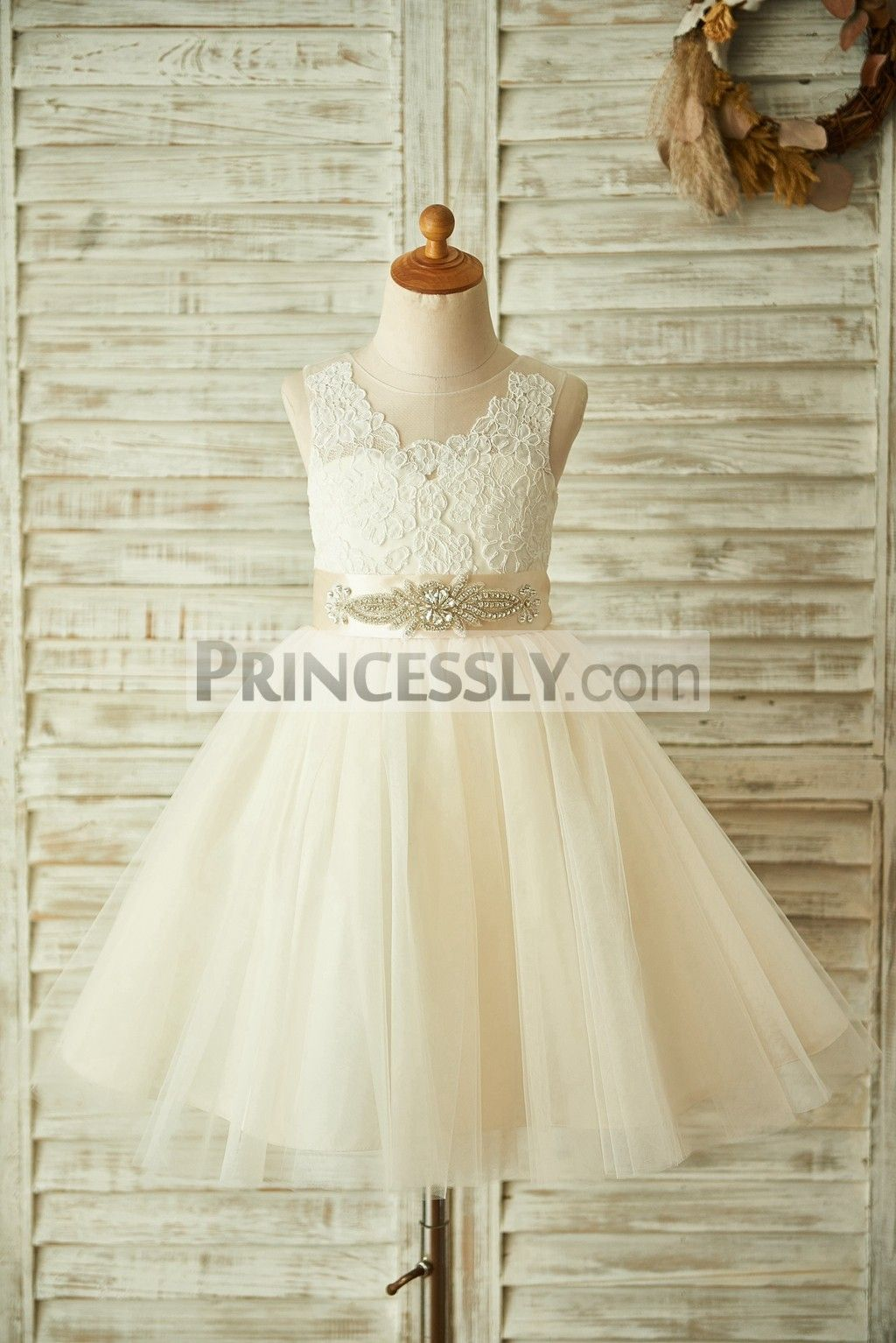Girls wedding dress  Champagne Lace Tulle Sheer Back Wedding Flower Girl Dress with
