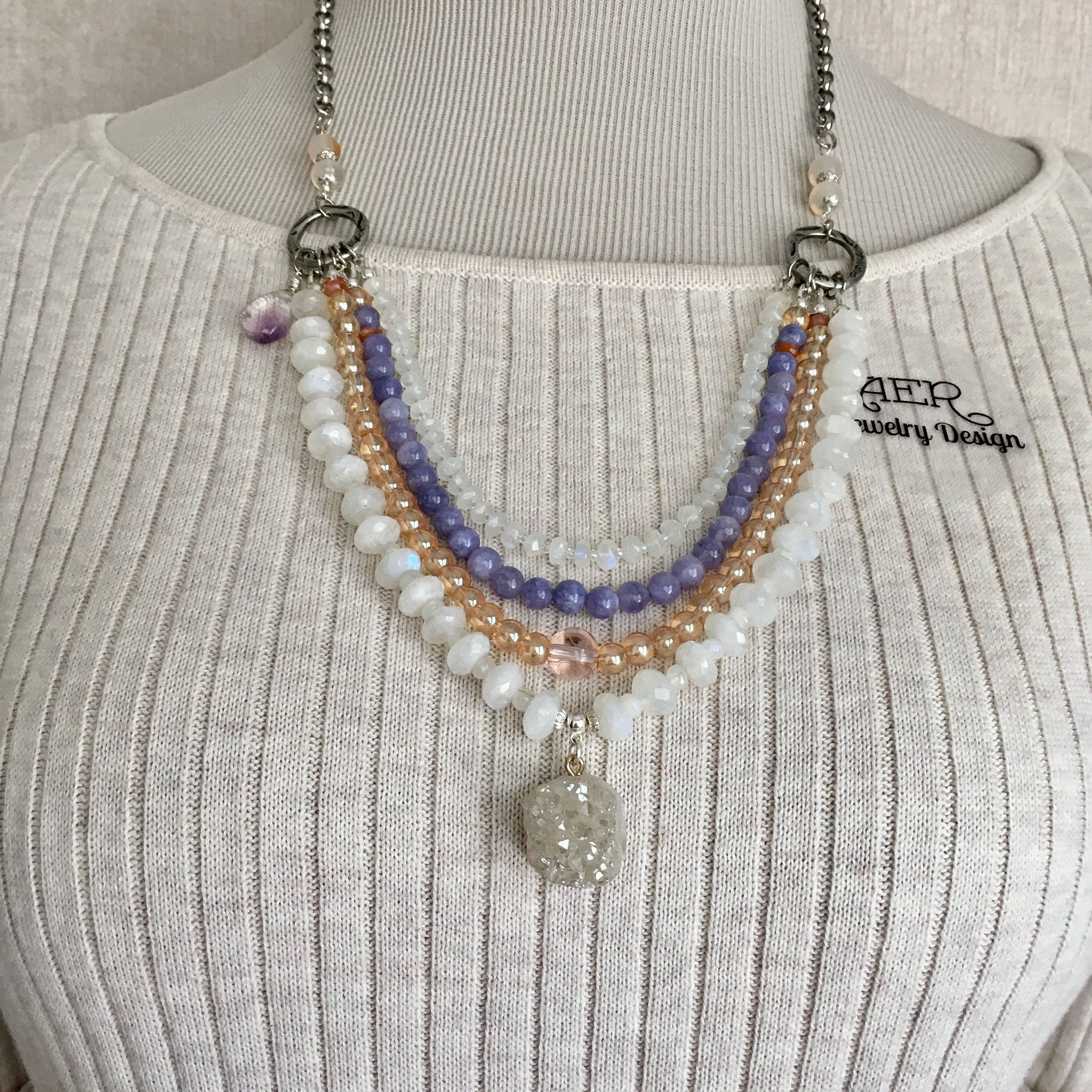 Gemstones and Glass Multi Strand Necklace with Silver Clasp and Extender Sundance Style Moonstone