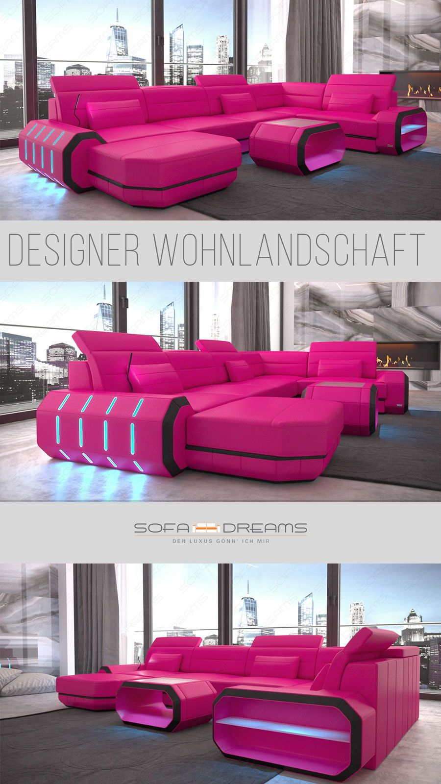 Eine Designer Wohnlandschaft Mit Beleuchtung Aus Led Modernes Sofa Mit Eckigem Design Und Cooler Bele Bed Headboard Design Luxury Couch Luxury Bedroom Master