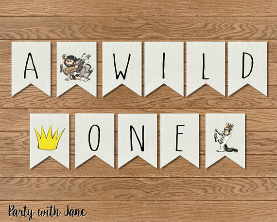 Wild One First Birthday Banner Wild One Party Decor Wild One Banner Where the Wild Things Are Party.
