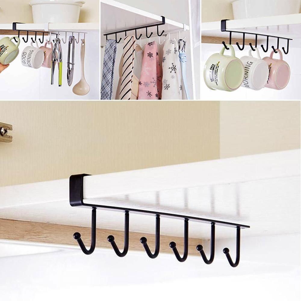 Cup Holder Hang Kitchen Cabinet Under Shelf Storage Rack Organiser 6 Hooks Tl Unbranded