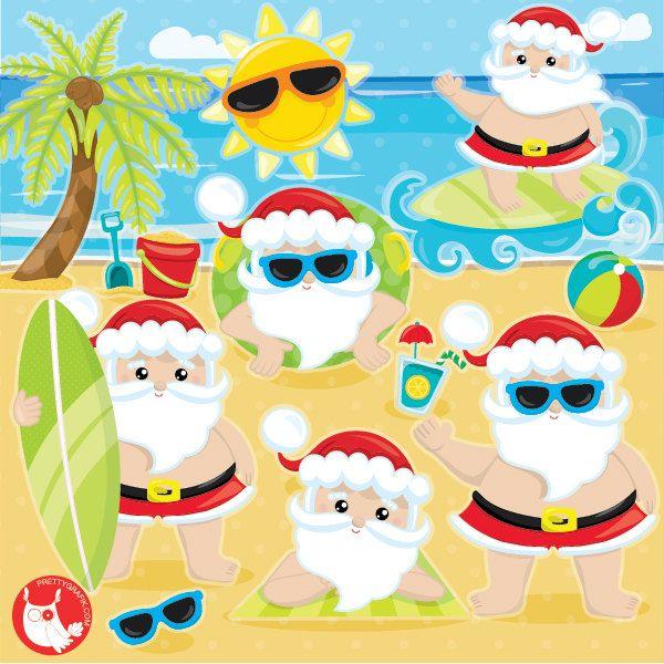 Christmas In July Santa Clipart.Buy20get10 Santa Clipart Commercial Use Summer Santa